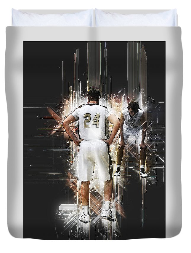 Basketball Duvet Cover featuring the photograph On The Line by Ronnie Gilbert