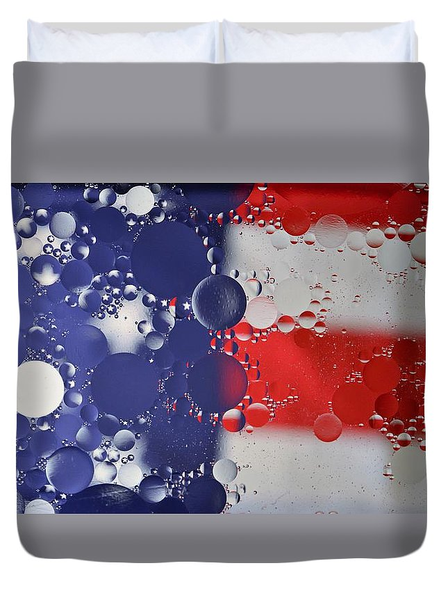 American Flag Duvet Cover featuring the photograph Abstract Oil And Water Usa 2 by Dennis Nelson