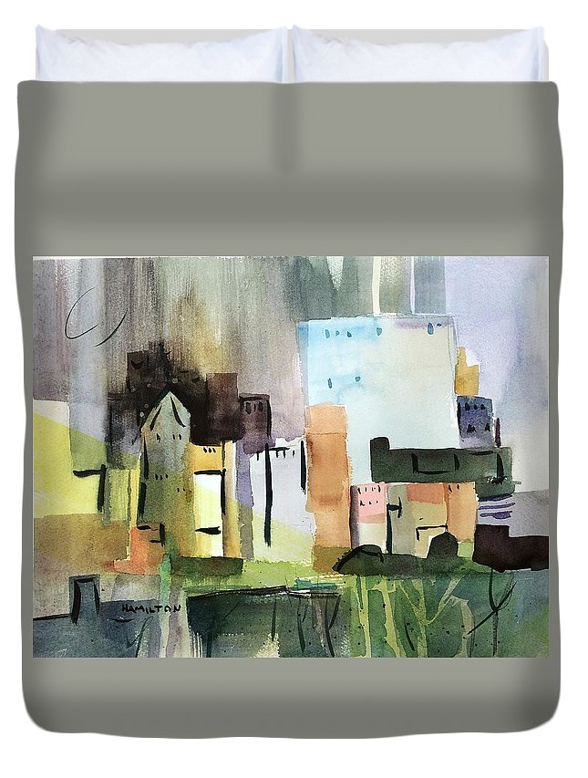 Abstract Duvet Cover featuring the painting Abstract Opus 5 by Larry Hamilton