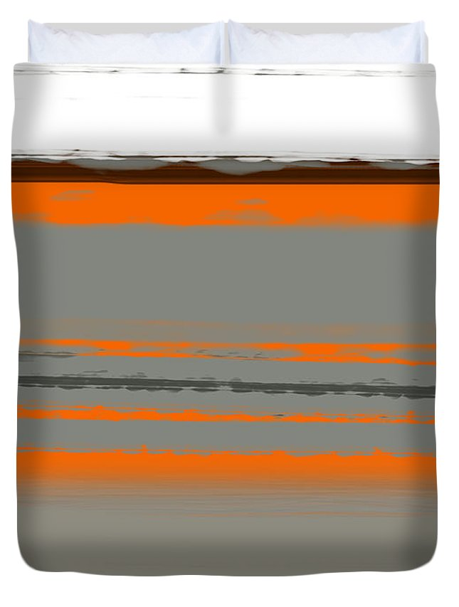 Abstract Duvet Cover featuring the painting Abstract Orange 2 by Naxart Studio