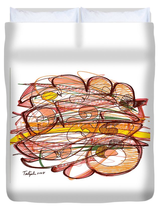 Abstract Art Duvet Cover featuring the drawing Abstract Pen Drawing Eight by Lynne Taetzsch