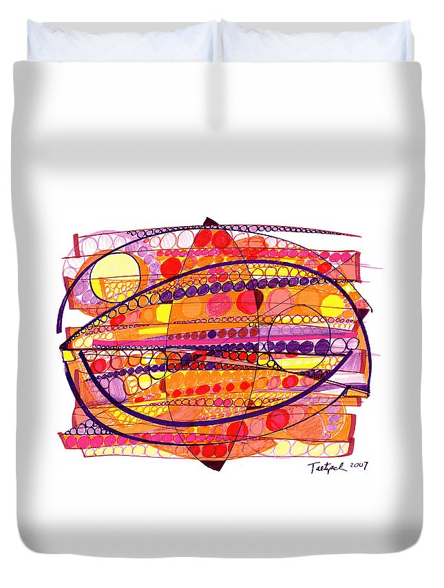 Abstract Art Duvet Cover featuring the drawing Abstract Pen Drawing Fourteen by Lynne Taetzsch