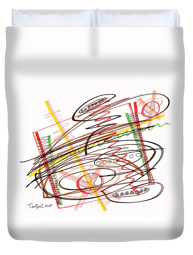 Abstract Art Duvet Cover featuring the drawing Abstract Pen Drawing Seven by Lynne Taetzsch