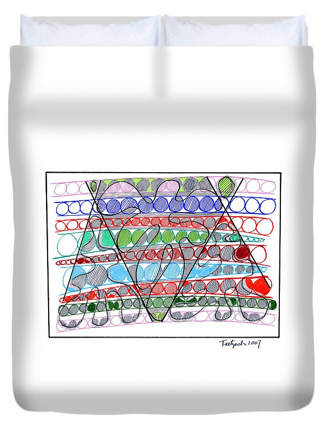 Abstract Art Duvet Cover featuring the drawing Abstract Pen Drawing Thirteen by Lynne Taetzsch