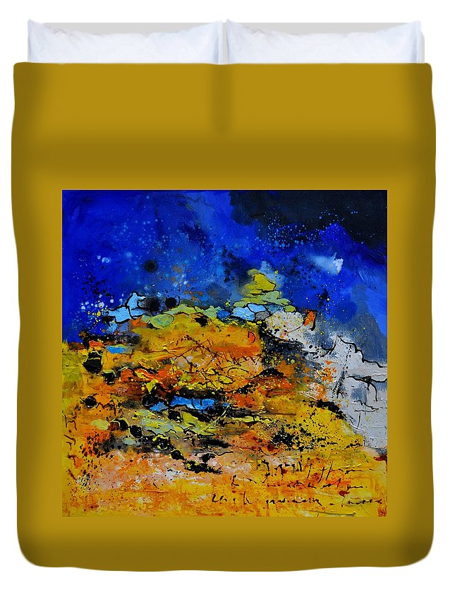 Abstract Duvet Cover featuring the painting Abstract by Pol Ledent