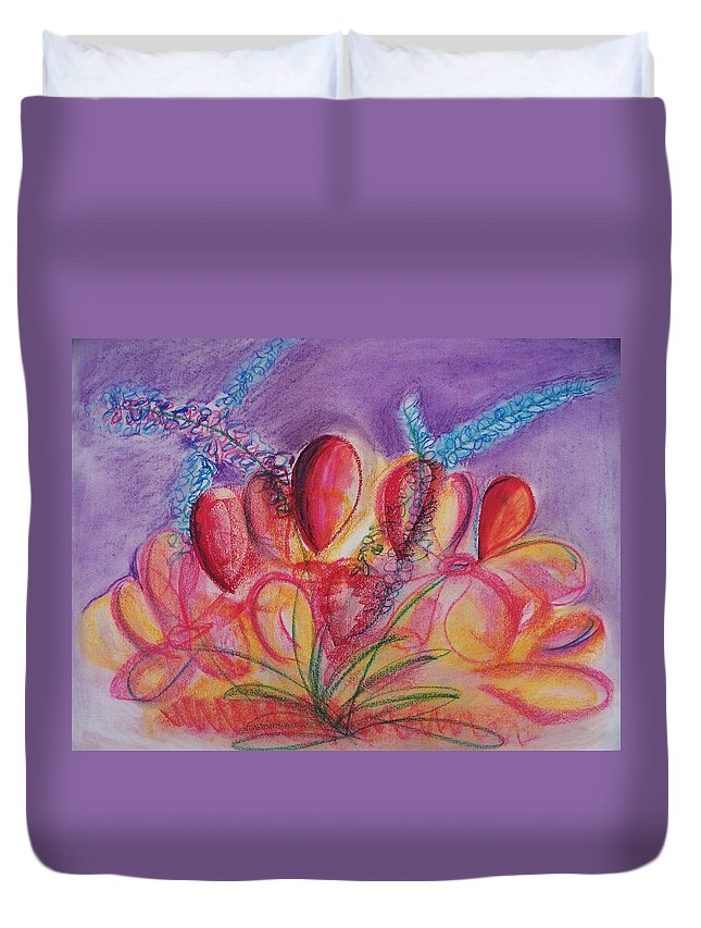 Abstract Duvet Cover featuring the drawing Abstract Red And Purple And Blue by Eric Schiabor