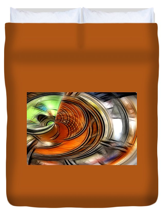 Abstract Green Yellow Orange White Blue Duvet Cover featuring the digital art Abstract by Galeria Trompiz