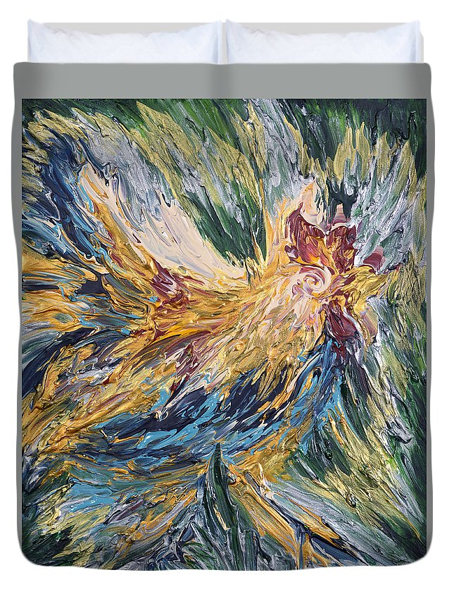 Abstract Duvet Cover featuring the painting Abstract Guam Rooster by Michelle Pier