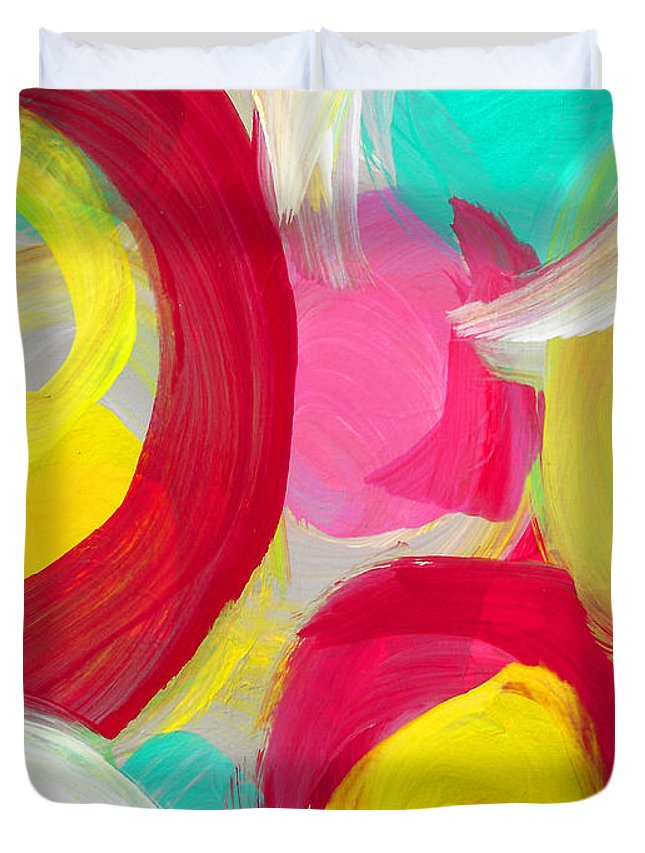 Floral Duvet Cover featuring the painting Abstract Rose Garden In The Morning Light 1 by Amy Vangsgard