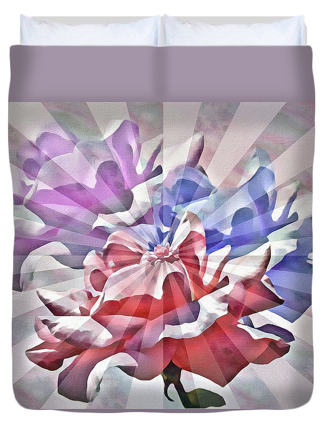 Abstract Duvet Cover featuring the mixed media Abstract Roses by Rosalie Scanlon