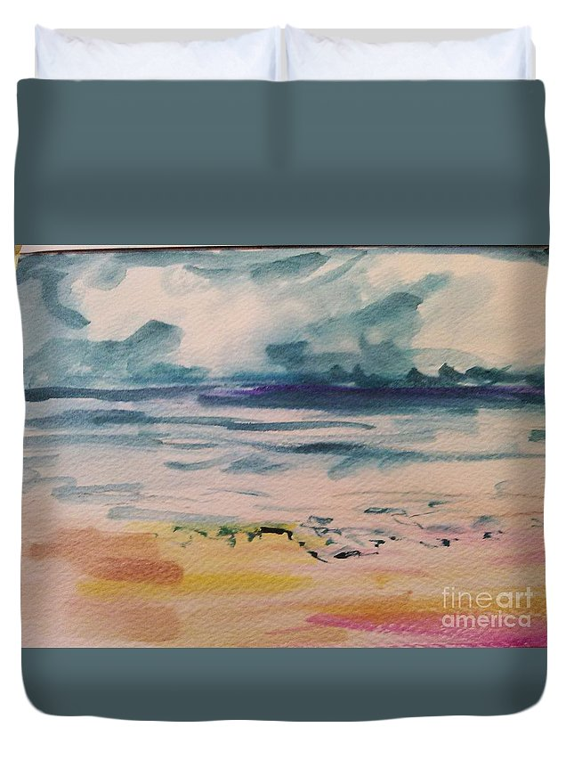 Sunset Ocean Sea Beach Seascape Waves Water Sunrise Duvet Cover featuring the painting Abstract Seascape by Patricia Ducher