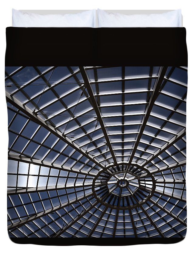 Abstract Duvet Cover featuring the photograph Abstract Spiderweb View Of A Central Tower Skylight At The World by Reimar Gaertner
