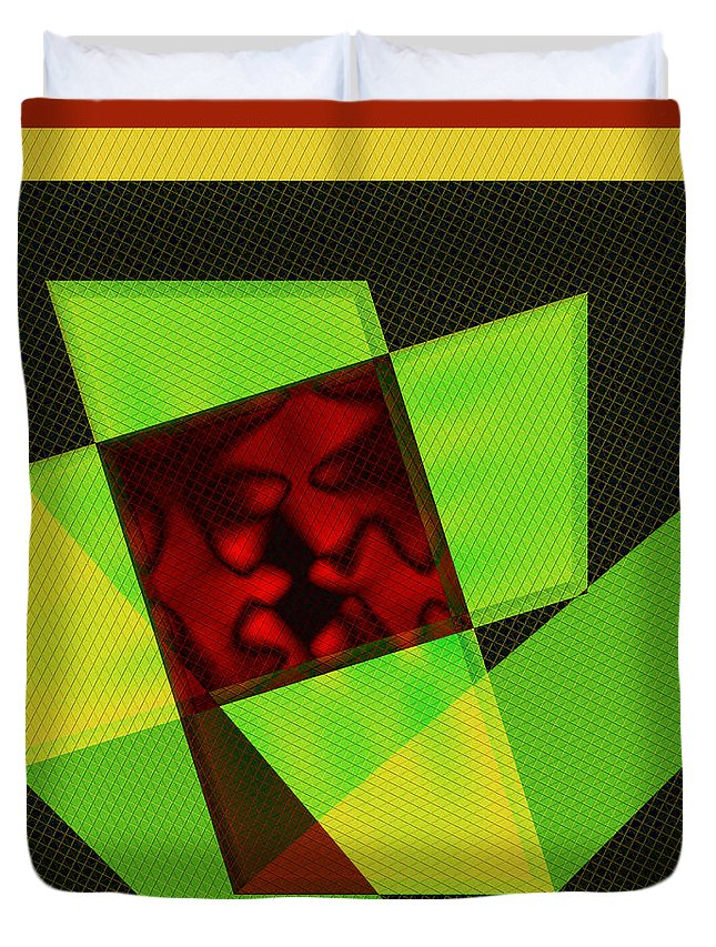 Square Format Duvet Cover featuring the digital art Abstract Squares And Angles by Kae Cheatham