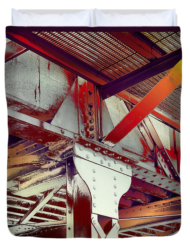 Robert Kernodle Industrial Abstracts Duvet Cover featuring the photograph Grunge Steel Beam by Robert G Kernodle