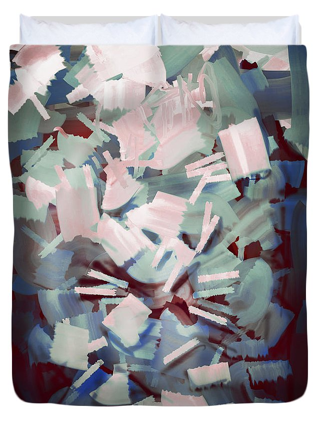 Abstract Duvet Cover featuring the painting Abstract Stone Chaos by Rui Barros