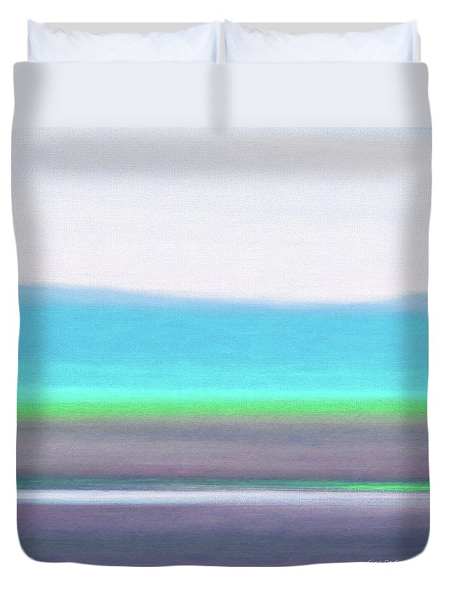 Brown Duvet Cover featuring the painting Abstract Sunset 64 by Gina De Gorna
