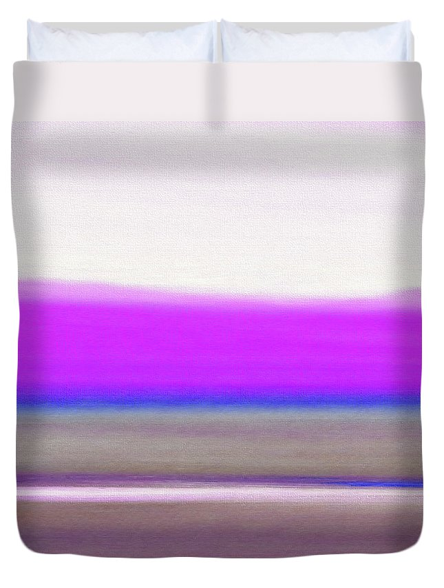 Brown Duvet Cover featuring the painting Abstract Sunset 65 by Gina De Gorna