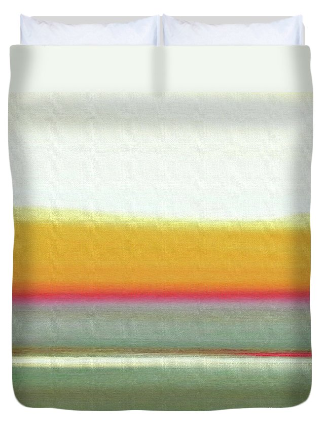 Brown Duvet Cover featuring the painting Abstract Sunset 66 by Gina De Gorna