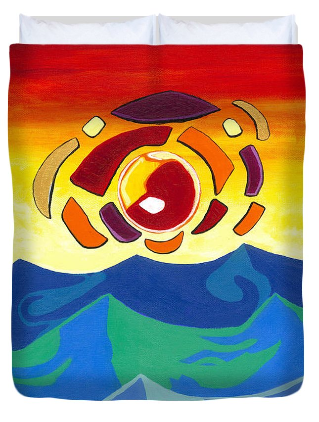 Sun Duvet Cover featuring the painting Abstract Sunset by Victor Ambrosio