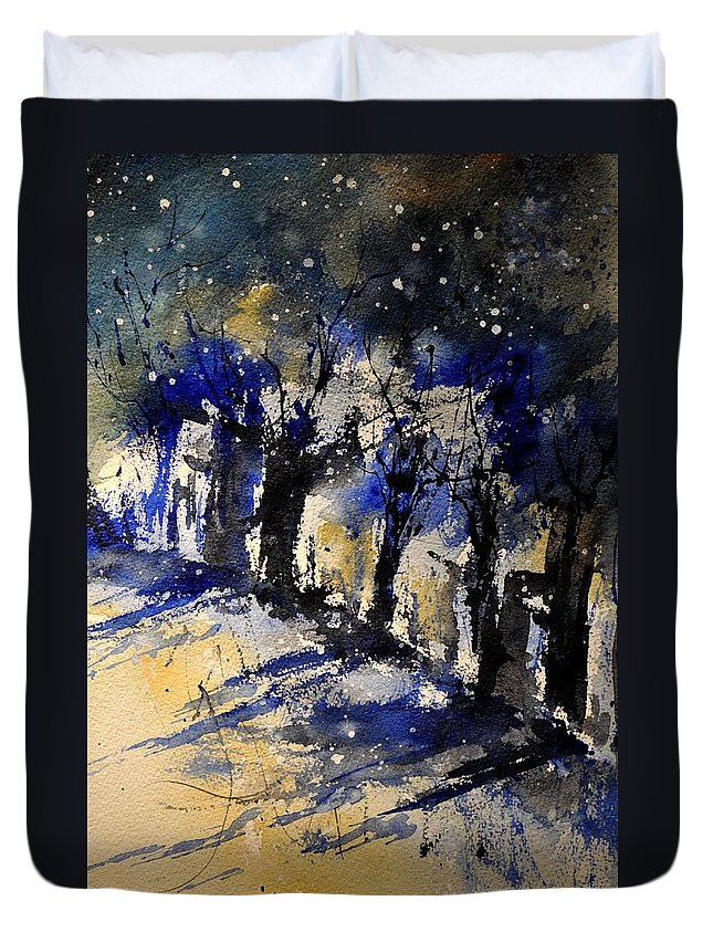 Abstract Duvet Cover featuring the painting Abstract Trees by Pol Ledent