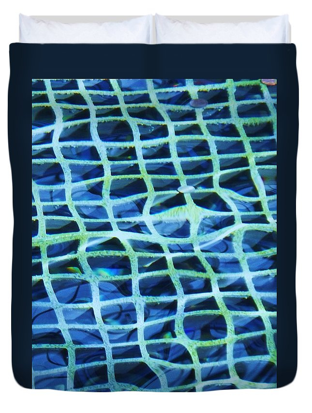 Abstract Duvet Cover featuring the painting Abstract Underwater by Eric Schiabor