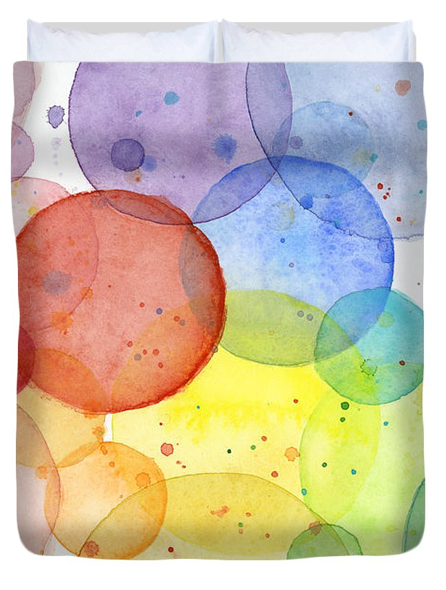 Design Duvet Cover featuring the painting Abstract Watercolor Rainbow Circles by Olga Shvartsur