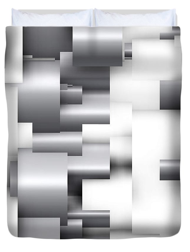 Abstract Duvet Cover featuring the digital art Abstract White And Grey by Alberto RuiZ