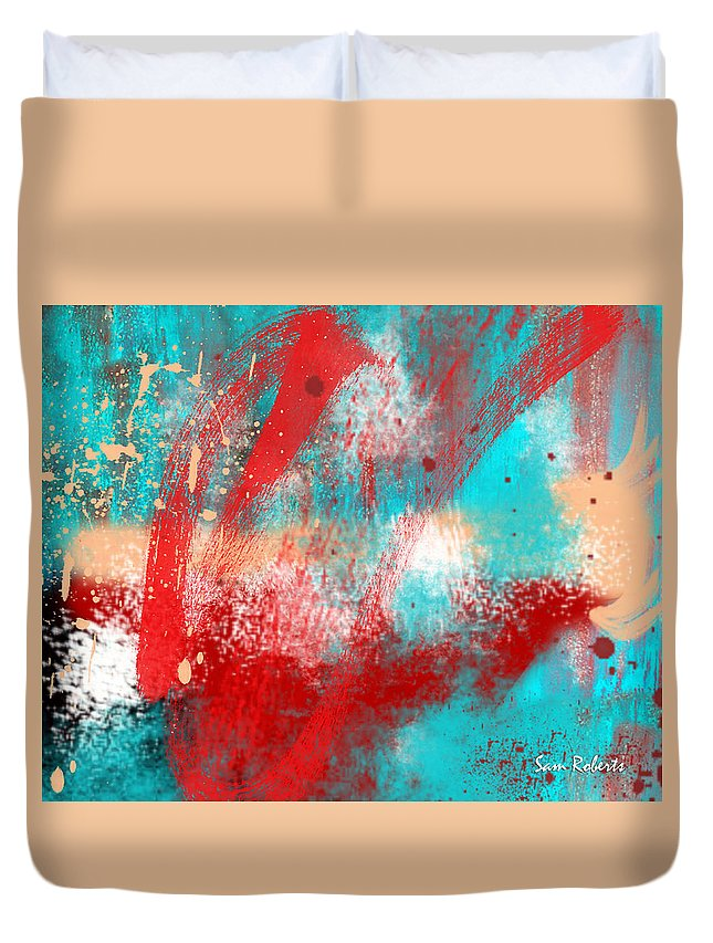 Abstract Duvet Cover featuring the painting Abstract25 by Sam Roberts