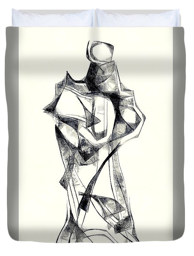 Abstraction Duvet Cover featuring the digital art Abstraction 2925 by Marek Lutek
