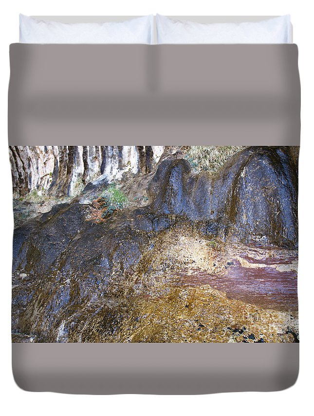 Color Duvet Cover featuring the photograph Abstraction In Color And Texture From Wet Rock by Karen Foley