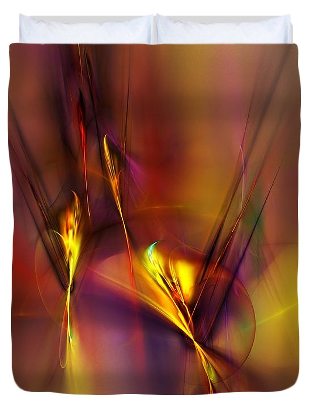 Fine Art Duvet Cover featuring the digital art Abstracts Gold And Red 060512 by David Lane