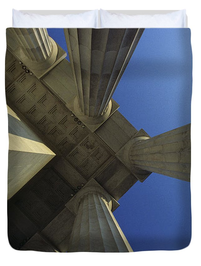 Abstract Duvet Cover featuring the photograph Abstrat View Of Columns At Lincoln by Kenneth Garrett