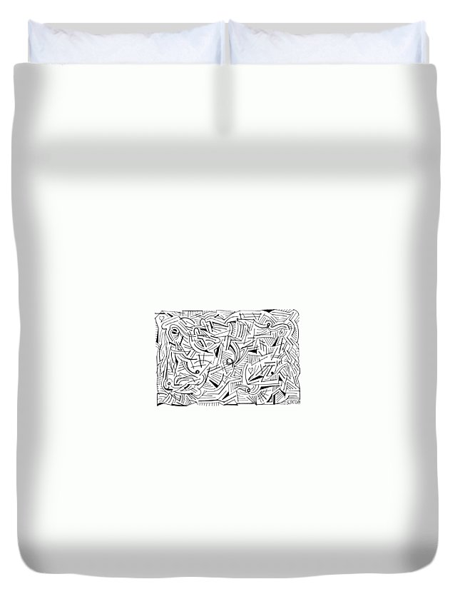 Mazes Duvet Cover featuring the drawing Abstruse by Steven Natanson