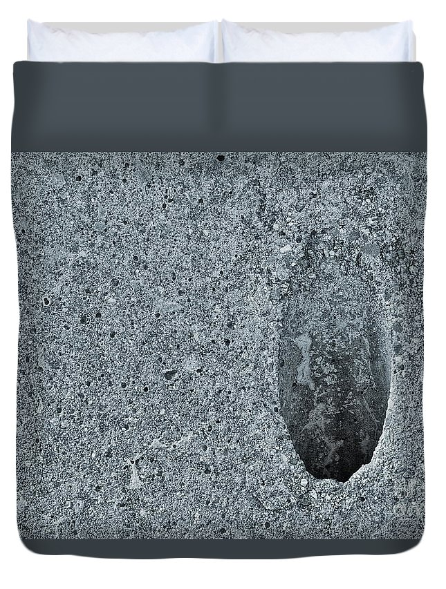 Concrete Cement Hole Abyss Black White Monochrome Duvet Cover featuring the photograph Abyss 2811 by Ken DePue