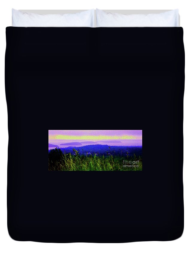 Acadia Duvet Cover featuring the mixed media Acadia Sunrise by Desiree Paquette