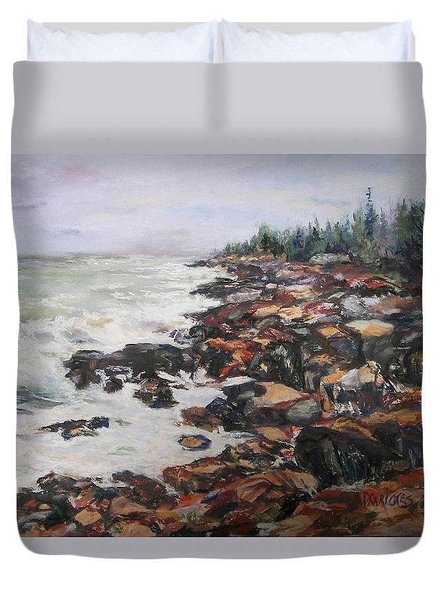 Acadia National Park Duvet Cover featuring the pastel Acadian Afternoon by Alicia Drakiotes