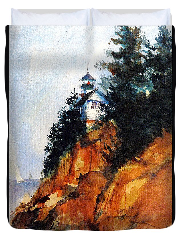 Acadia. Acadian Duvet Cover featuring the painting Acadian Lighthouse by Charles Rowland