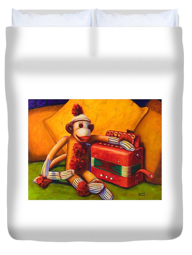 Children Duvet Cover featuring the painting Accordion by Shannon Grissom