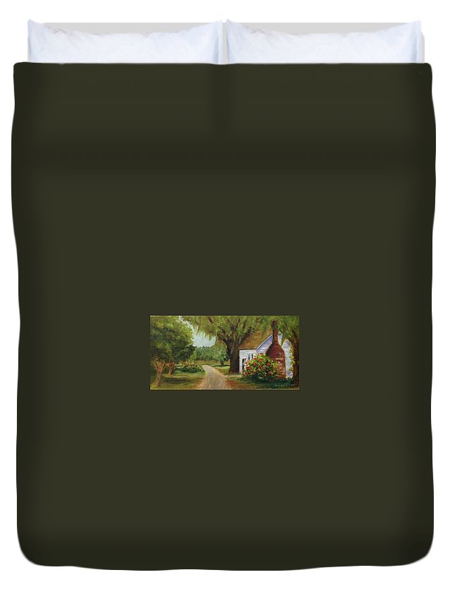 This Is A Little Out Building Off Of Grove Plantation Home At Ace Basin Close To Charleston Duvet Cover featuring the painting Ace Basin Cottage by Rosie Phillips