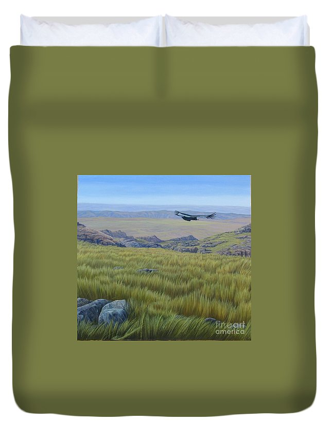 Grass Duvet Cover featuring the painting Achala Landscape by Juan Enrique Marquez