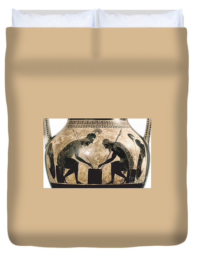 540 B.c Duvet Cover featuring the photograph Achilles & Ajax, C540 B.c by Granger