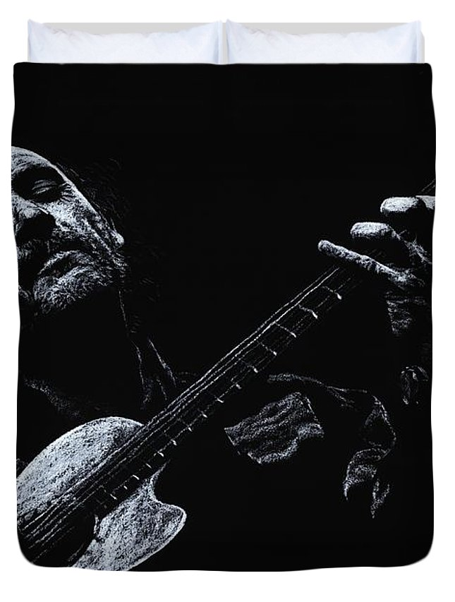 Musician Duvet Cover featuring the pastel Acoustic Serenade by Richard Young