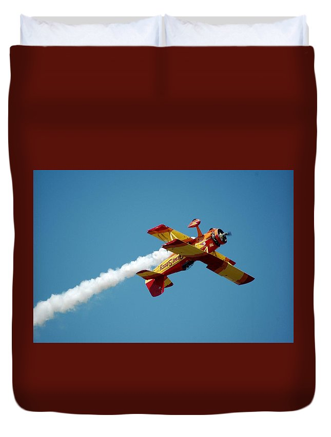 Plane;airplane;airshow Duvet Cover featuring the photograph Acrobat Blue by Cynthia Bowen