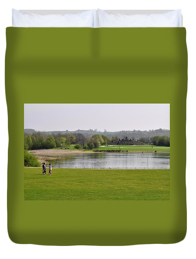 Bright Duvet Cover featuring the photograph Across Carsington Water To Stones Island by Rod Johnson