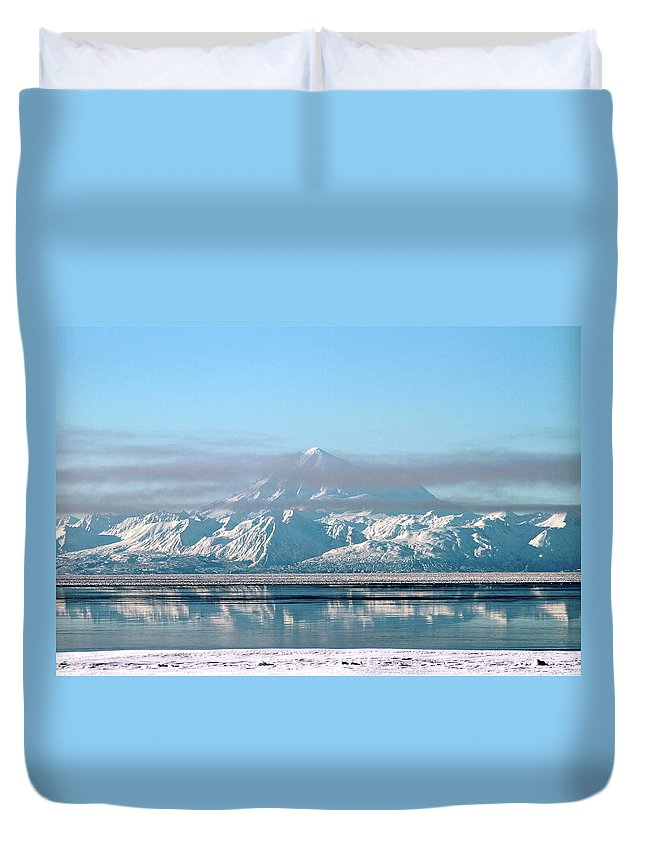 Mountain Duvet Cover featuring the photograph Across The Bay by Rick Monyahan