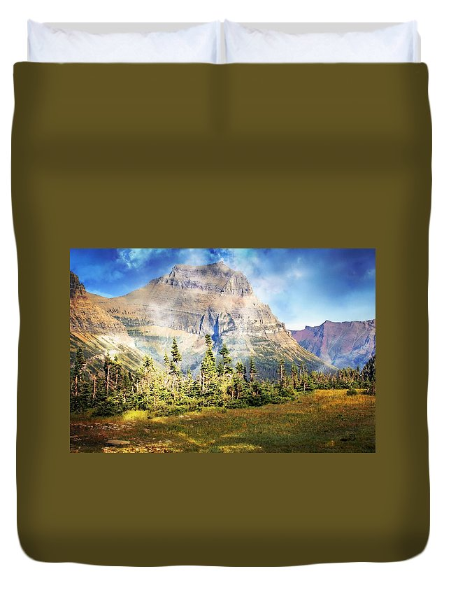 Glacier National Park Duvet Cover featuring the photograph Across The Meadow by Marty Koch