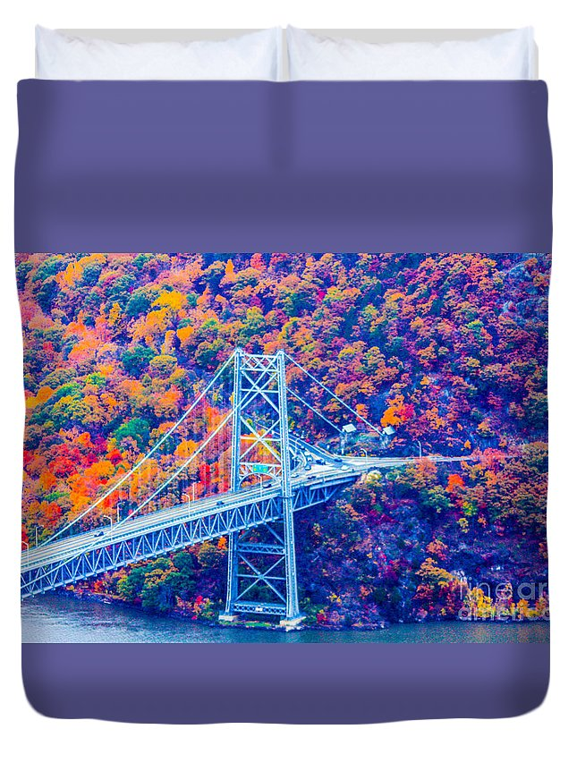 Bear Mountain Bridge Duvet Cover featuring the photograph Across The Other Side Of Bear Mountain Bridge by William Rogers