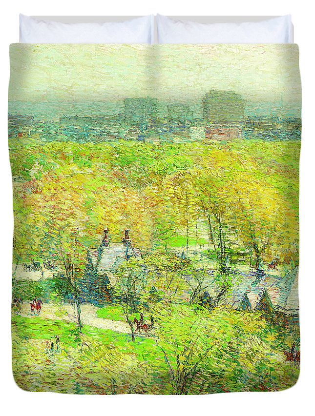 Across The Park Duvet Cover featuring the painting Across The Park by Childe Hassam