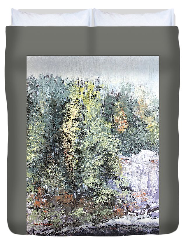 Landscape Duvet Cover featuring the painting Across The Ravine by Todd Blanchard