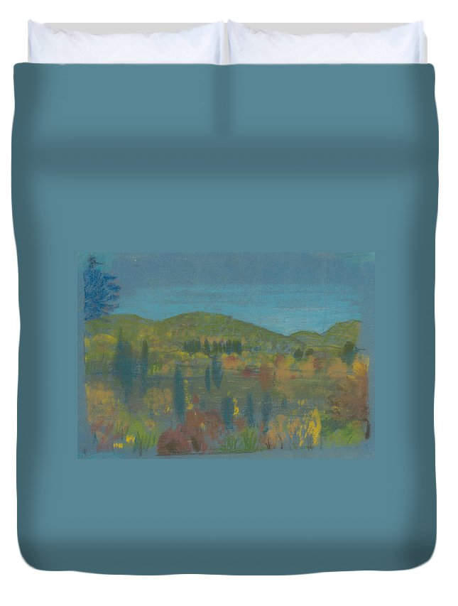 19th Century Art Duvet Cover featuring the pastel Across The Valley by Arthur Bowen Davies